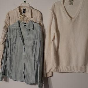 GAP xl button down shirt top white cotton Sweater